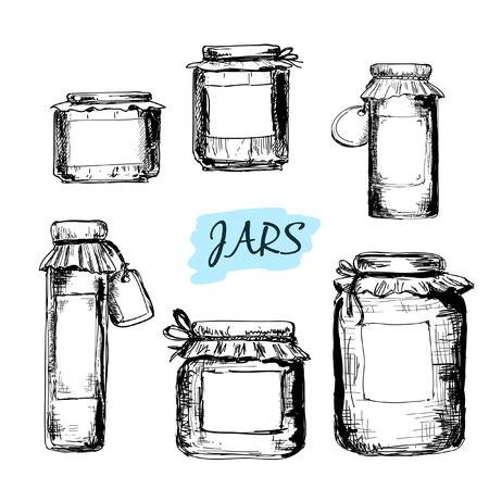 Los frascos con etiquetas. Conjunto de ilustraciones dibujadas a mano