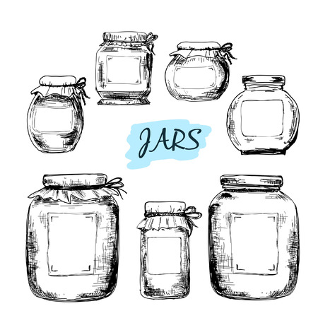 canning: Jars with labels. Set of hand drawn illustrations