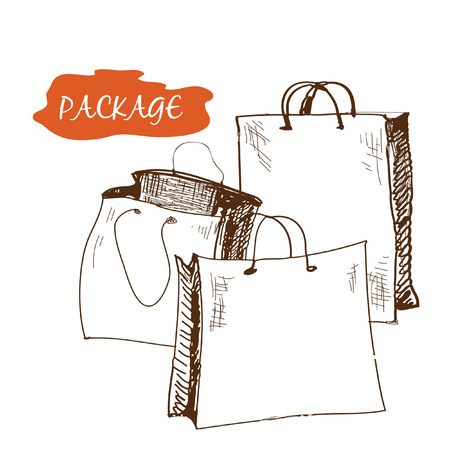 packer: Set of package. Hand drawn graphic illustration