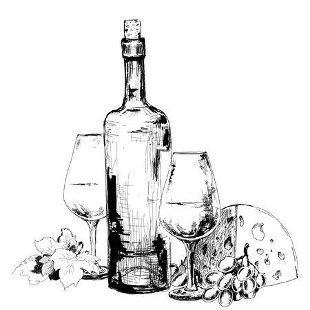 Wine with cheese  and grapes. Hand drawn illustration Vettoriali
