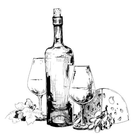 Wijn met kaas en druiven. Hand getrokken illustratie