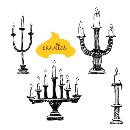 Set of candlesticks with candles. Hand drawn illustrations. Vector