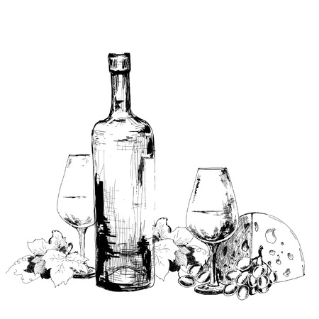 Wine with cheese  and grapes illustration illustration