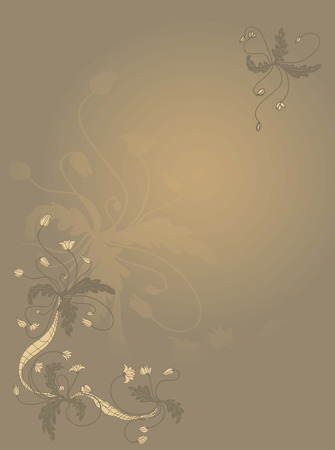 bush mesh: Floral background. Hand drawn illustration with graphic flowers Illustration