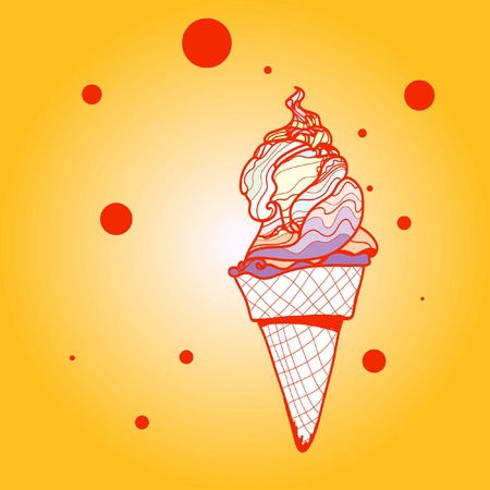 softcream: Ice-cream. Hand drawn graphic illustration on gradient background