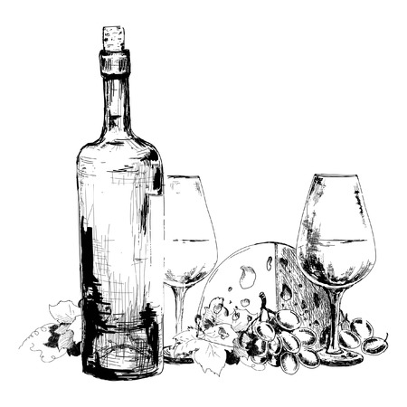 blue cheese: Wine with cheese  and grapes. Hand drawn illustration Illustration
