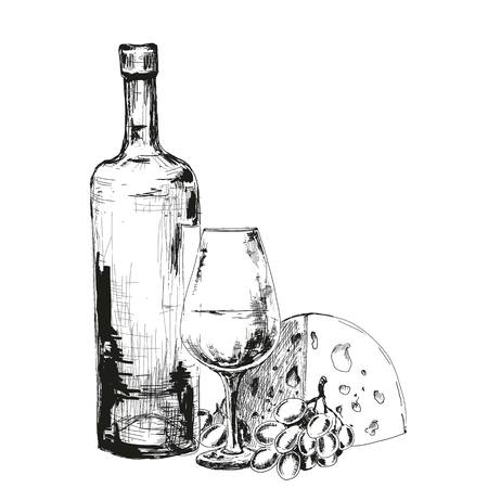 wine and cheese: Wine, cheese and grapes. Hand drawn illustration Illustration