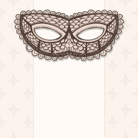 masquerade mask: Masquerade mask on a beige background. Hand drawn graphic