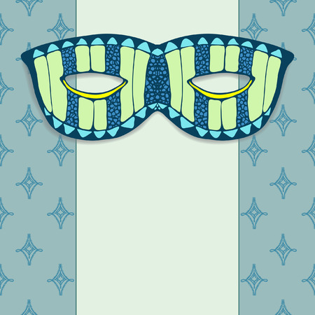 masquerade mask: Masquerade mask on a blue background. Hand drawn graphic Illustration