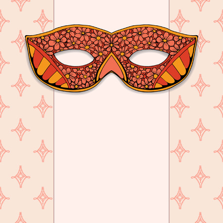 masquerade mask: Masquerade mask on a rose background. Hand drawn graphic Illustration