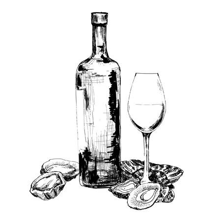 Wijn en oesters. Hand getekende grafische illustratie
