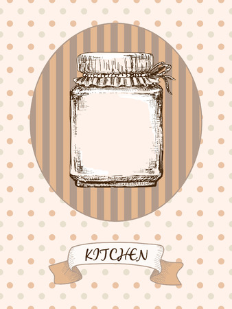 Kitchen design. Jar on a striped background
