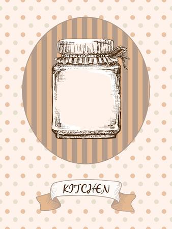 Kitchen design. Jar on a striped background