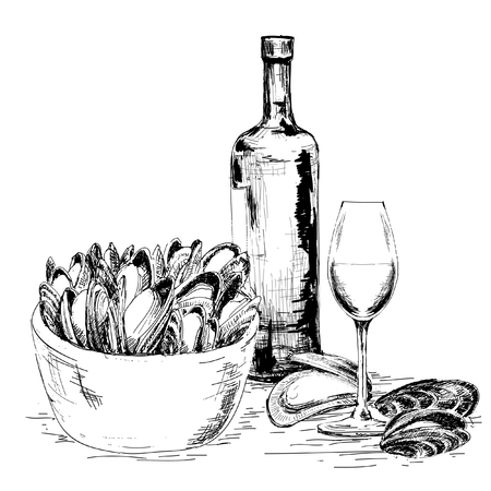 Mussels with wine Vector
