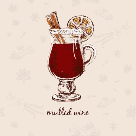 mulled: Mulled wine Illustration