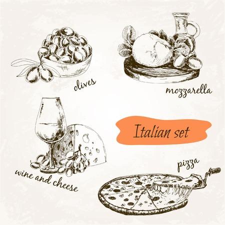 mozzarella cheese: Italian set. Set of hand drawn graphic illustrations. Illustration