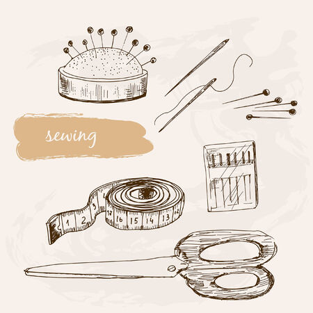 hank: Sewing. Set of hand drawn graphic illustrations