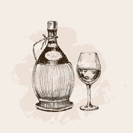 Bottle of wine and glass. Hand drawn graphic illustration Vectores
