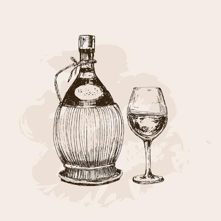 sommelier: Botella de vino y vidrio. Dibujado a mano ilustraci�n gr�fica Vectores