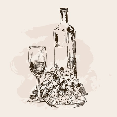 Bottle of wine, glass, grapes and snacks. Hand drawn illustration
