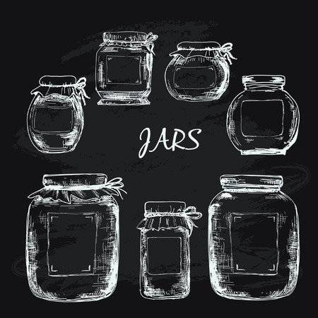 Jars with label Ilustrace