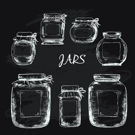 Jars with label Illustration
