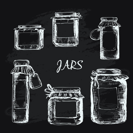 old kitchen: Jars with label Illustration