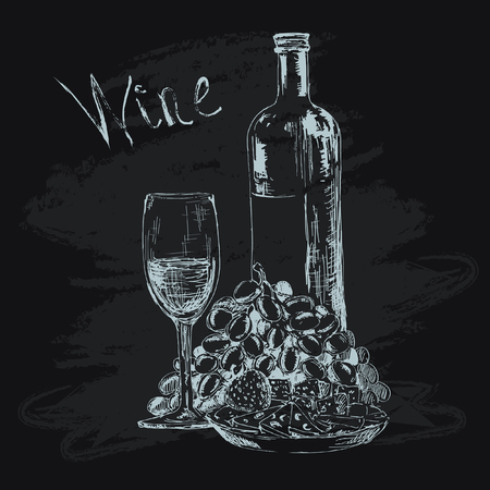 Bottle of wine, glass, grapes and snacks Иллюстрация