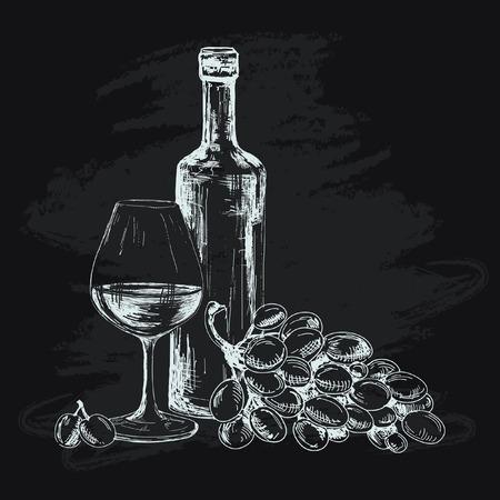 Wijn, glas en druiven Stock Illustratie