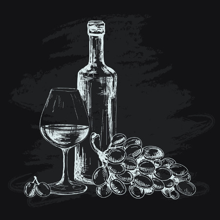 Wine, glass and grapes