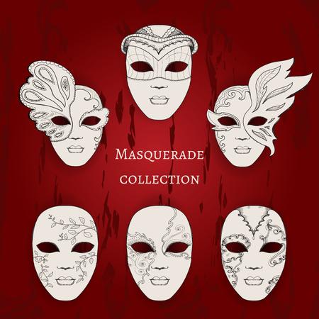 Masquerade. Set of 6 hand drawn masks