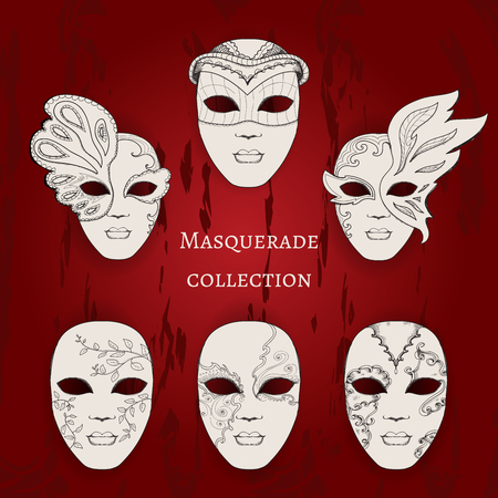 masquerade masks: Masquerade. Set of 6 hand drawn masks