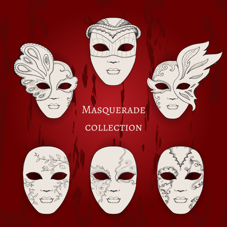 comedy disguise: Masquerade. Set of 6 hand drawn masks