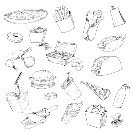 Fastfood collection Vector
