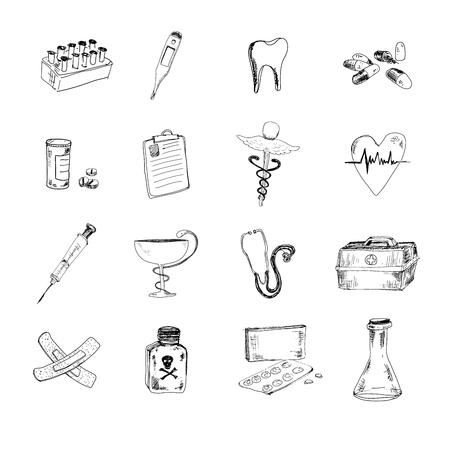 pill box: Medical set Illustration