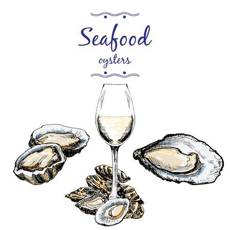 ostra: Las ostras y copa de vino. Vectores