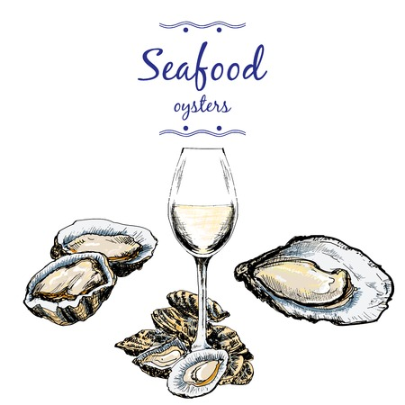 Oysters and wine glass. Ilustrace