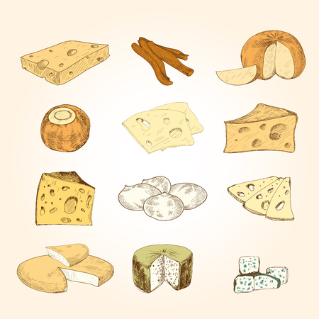grated cheese: Cheese collection. Illustration