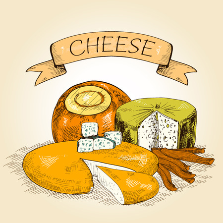 grated cheese: Cheese illustration  Illustration