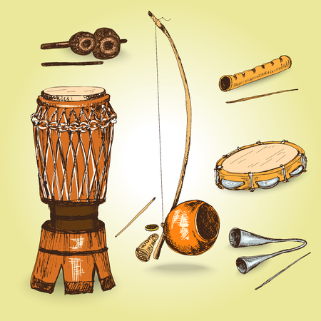 djembe: Collection of musical instruments of capoeira. Hand drawn illustrations
