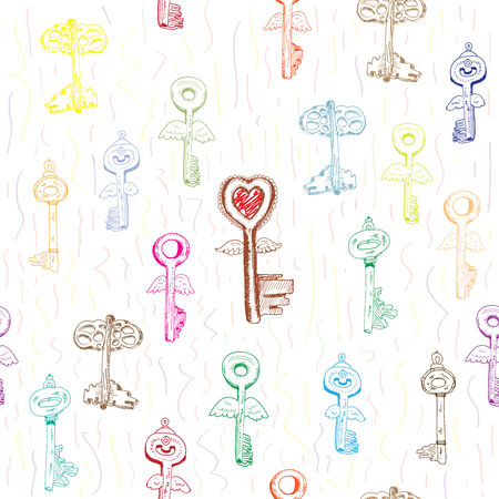 Keys. Seamless background with hand drawn graphic Vector