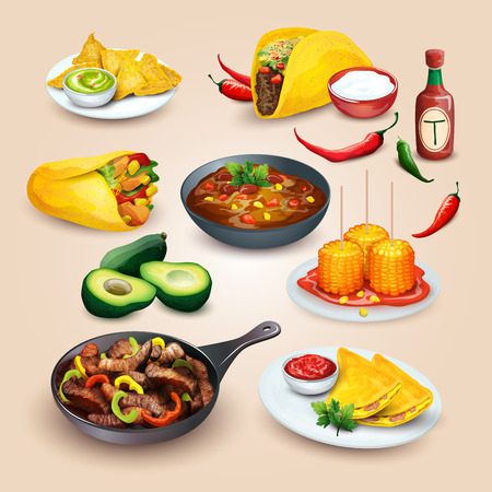 fajita: Mexican food. Colorful food illustrations in one set