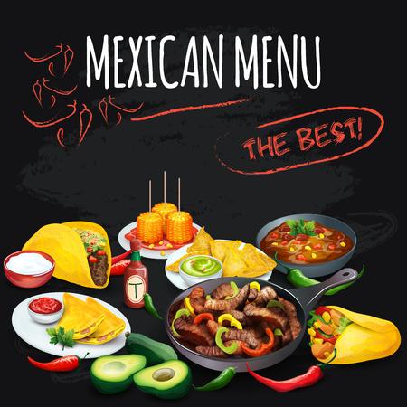 fajita: Mexican menu. Corolful food illustration on chalkboard
