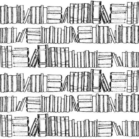 biblioteca: Patterh sin fisuras con los libros viejos. Mano gráfico dibujado