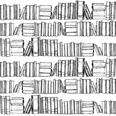 book design: Seamless patterh with old books. Hand drawn graphic