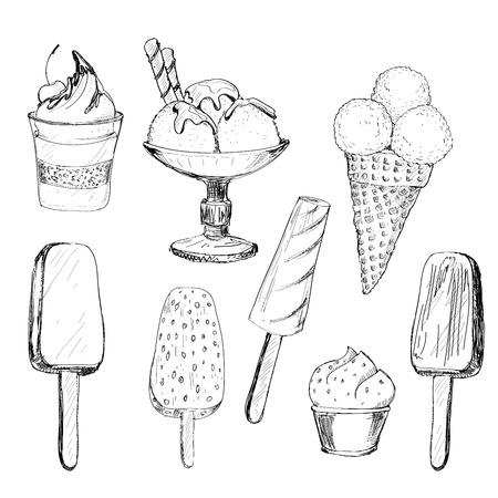 Ice cream. Set of graphic hand drawn illustrations