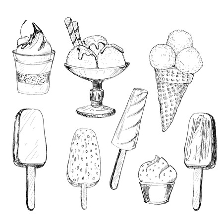 helado caricatura: Helado. Conjunto de gráficos dibujados a mano ilustraciones Vectores