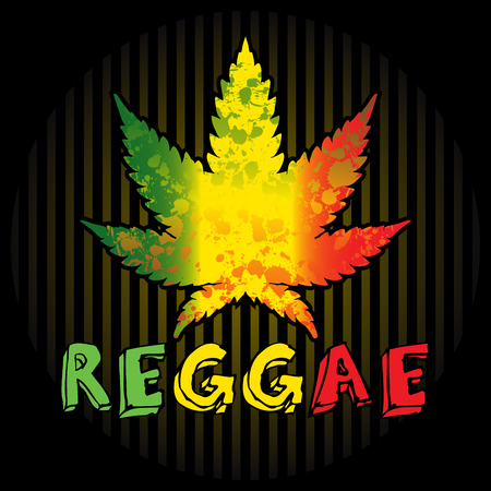 reggae: Reggae. Background with leaf of cannabis and text