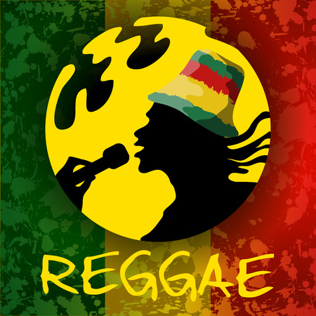 reggae: Reggae guy. Illustration with hand drawn guy and background  with blots Illustration