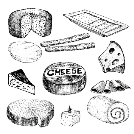 grated cheese: Cheese. Collection of hand drawn graphic illustrations Illustration